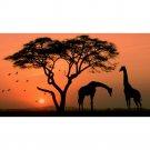 Africa Sunset Giraffe Animals Nature Art Poster 32x24