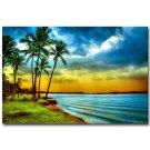 Sunset Tropical Sea Beach Nature Art Poster Coconut Tree 32x24