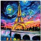 Starry Night Paris Eiffel Tower Landscape Art Poster Es 32x24