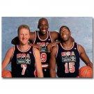 Larry Bird Michael Jordan Magic Johnson Basketball Poster 32x24