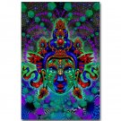Buddha Green Tara Face Trippy Abstract Art Poster 32x24