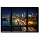 New York City Night Skyline Window View Poster 32x24