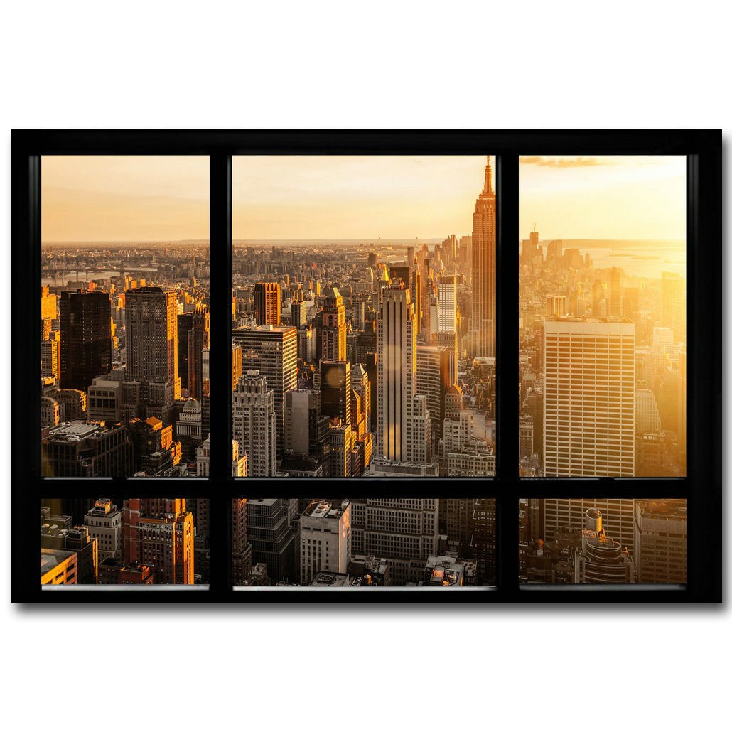 New York City Sunset Skyline Window View Poster 32x24