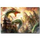 Eastern Dragon Fantasy Art Poster Mountain Tower 32x24