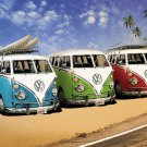 VW Bus California Campers At Surf Beach Art Poster 32x24