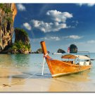 Summer Tropical Ocean Beach Sky Nature Poster Rocks Boat 32x24