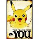 Pokemon Pikachu Needs You Anime Poster Print 32x24