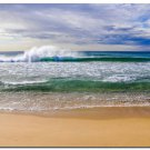 Crashing Wave Ocean Scenery Nature Art Wall Poster Blue Sea 32x24