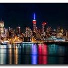 New York City Night Reflection Skyline Art Poster 32x24
