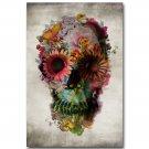 Flower Skull Face Illusion Trippy Art Poster 32x24