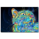 Psychedelic Trippy Cat Abstract Art Poster 32x24