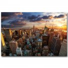 Sunset New York City Skyline Cityscape Poster 32x24