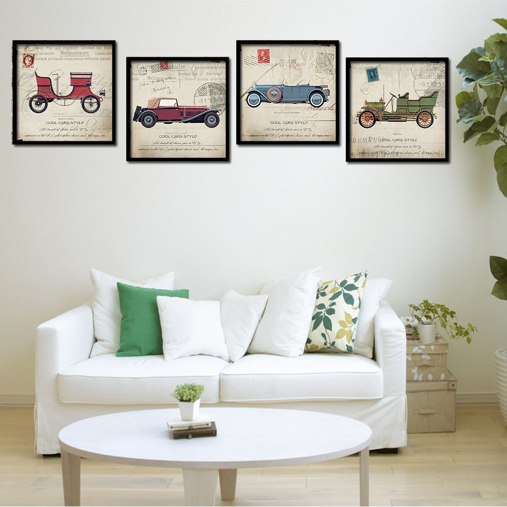 Vintage Poster Classic Cars Minimalist Art Canvas Print Modern Decor 32x24
