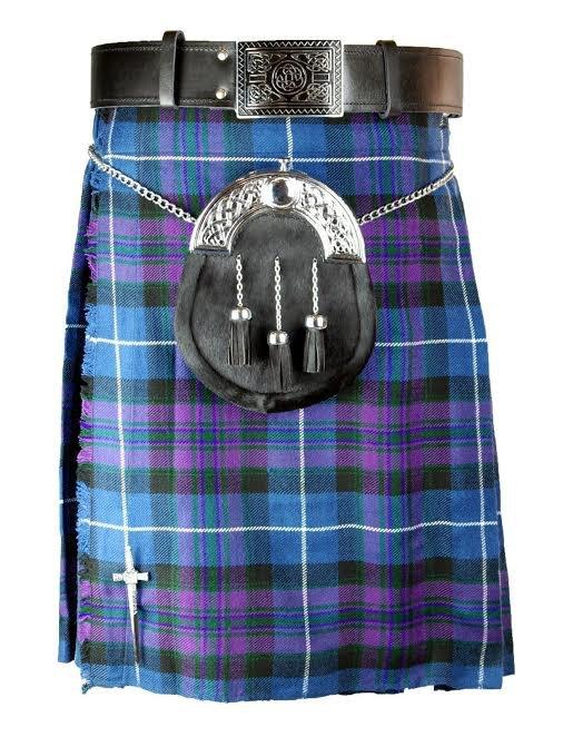New active Handmade Scottish Highlander kilt for Men in pride of Scottland size46 coloure Purple