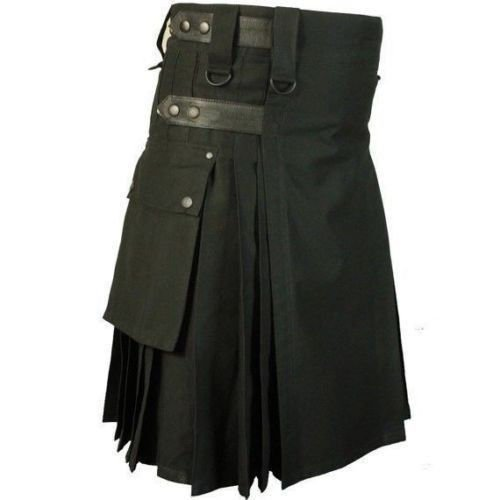 New Men Black Professional Sports Leather Strape Cotton Utility kilt size 62