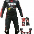 New Aprilia Motorbike Racing Leather Suit Custom Size free matching Gloves and Shoes