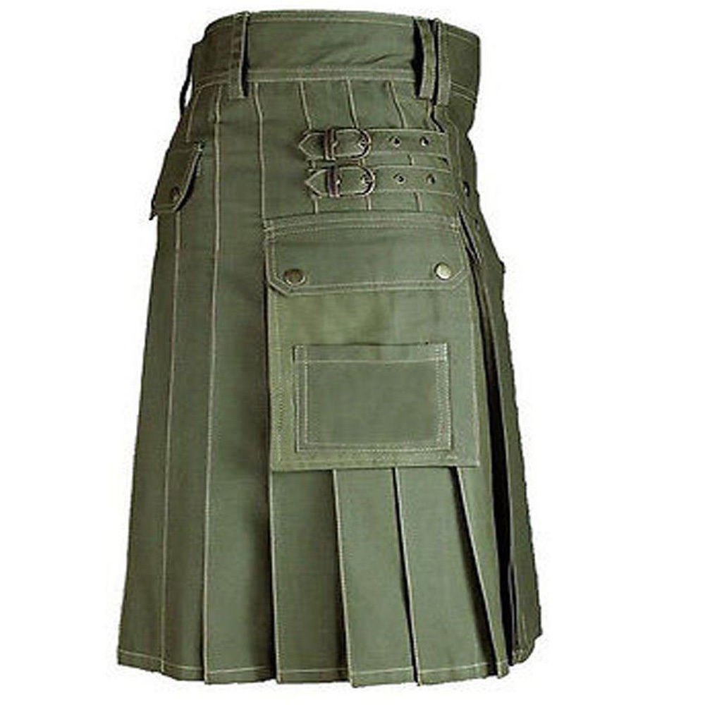 New Men Olive Green Scottish 100% cotton Handmade uinisex Adult Utility kilt size 42
