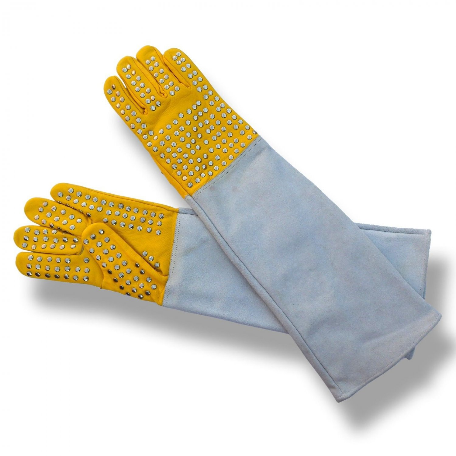 New DC067 Snake Catcher Gloves Heavy Duty Reptile Lizards Leather Gloves Yellow