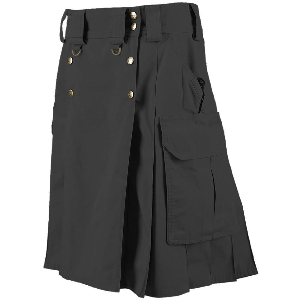 New Tactical Men's Combat Cargo Uniform Battle Utility Unisex Black Kilt Size 32