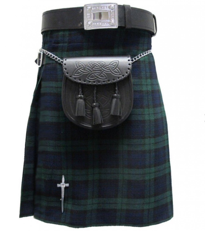 New DC Active men highlender traditional sports black watch tartan kilt size 34