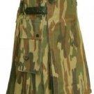 New DC Mens Active Stylish Leather Strap Camo Utility Fashion Kilt 100% Cotton size 34