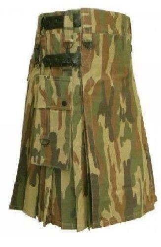New DC Mens Active Stylish Leather Strap Camo Utility Fashion Kilt 100% Cotton size 58