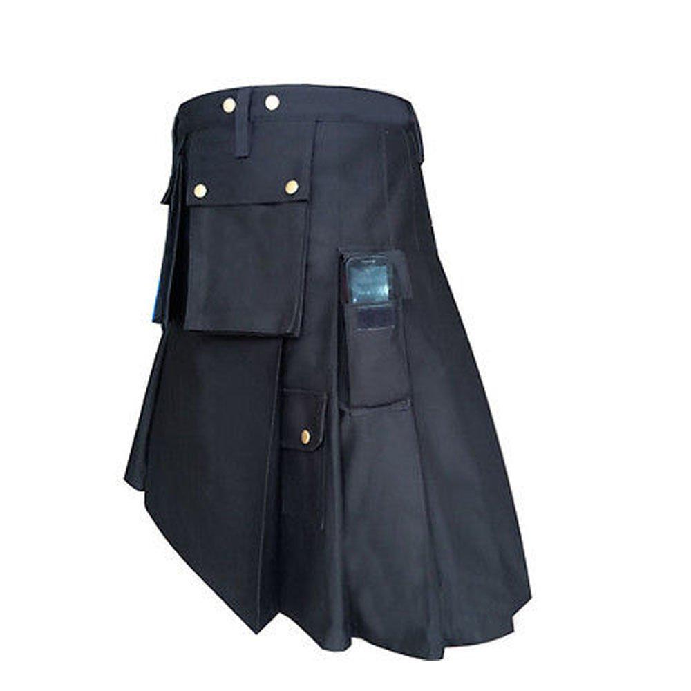 New DC Black Scottish Kilt highland Police Men utility Unisex Adult Handmade Cargo size 52