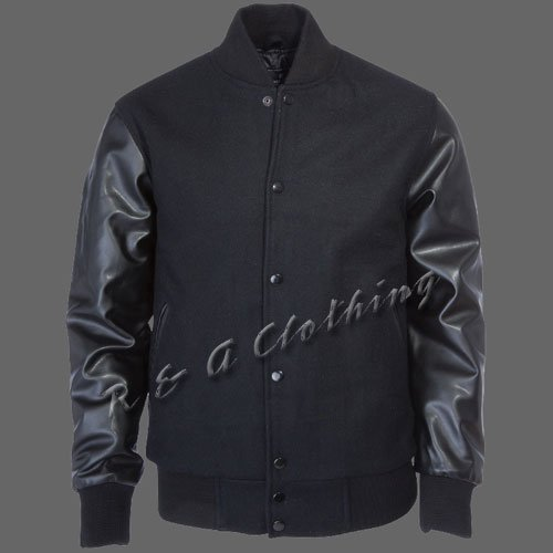 New R & A Black varsity jacket with Long Leather Sleeves size 2xl