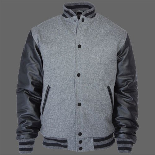New R & A Grey and Black varsity jacket with Long Leather Sleeves size xl
