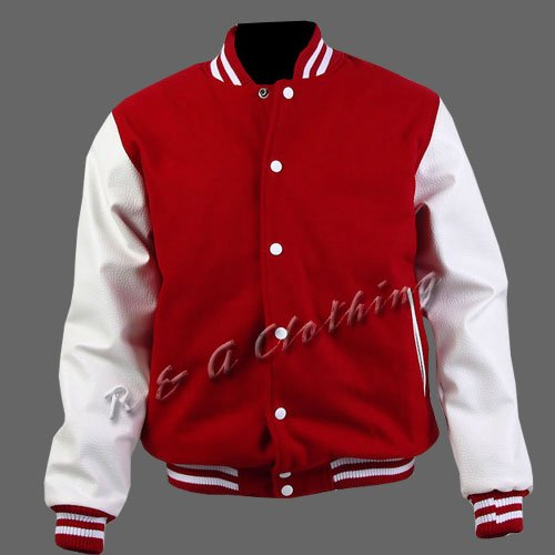 New R & A Red and White varsity jacket with Long Leather Sleeves size xs