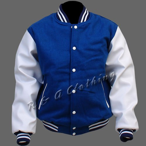 New R & A Royal Blue and White varsity jacket with Long Leather Sleeves size xl