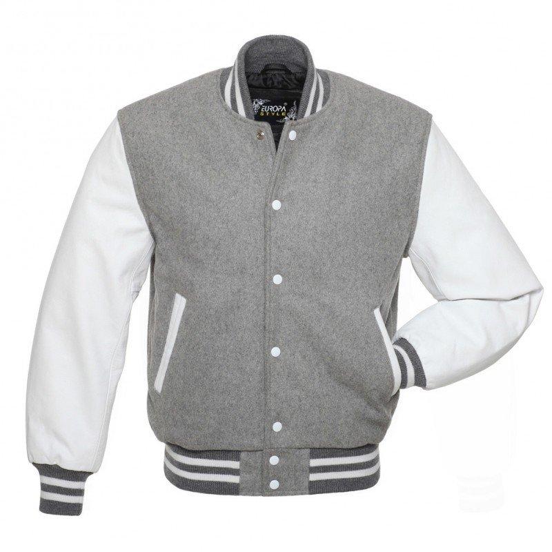 New DC Letterman Grey wool white leather  sleeves varsity jacket size xl