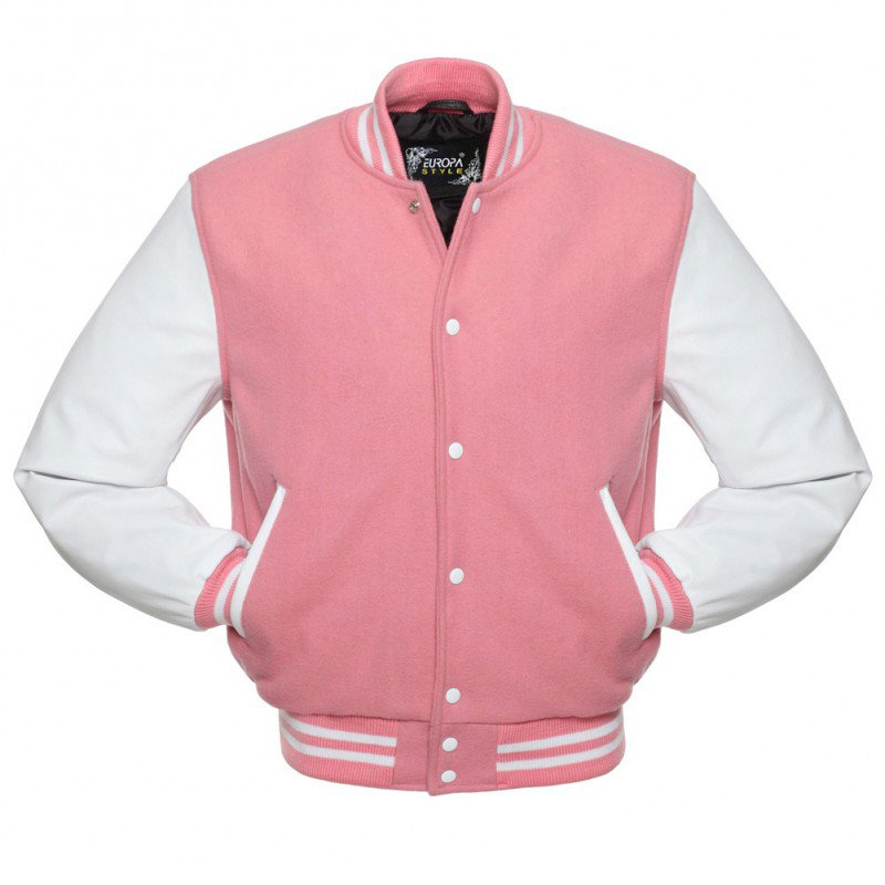 New DC Letterman Pink wool White leather  sleeves varsity jacket size 2xl