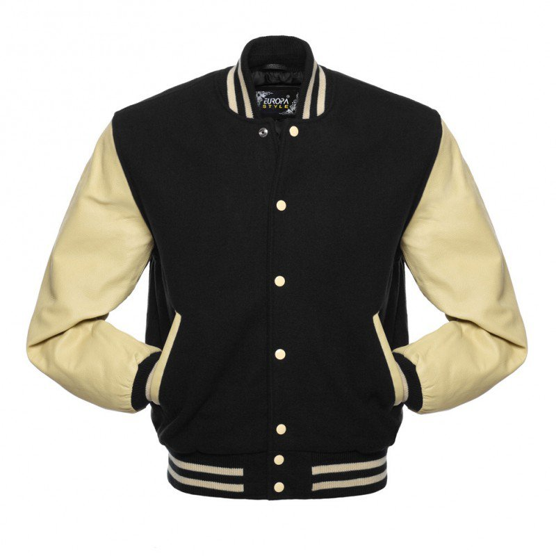 New DC Letterman Black wool Off White leather  sleeves varsity jacket size s