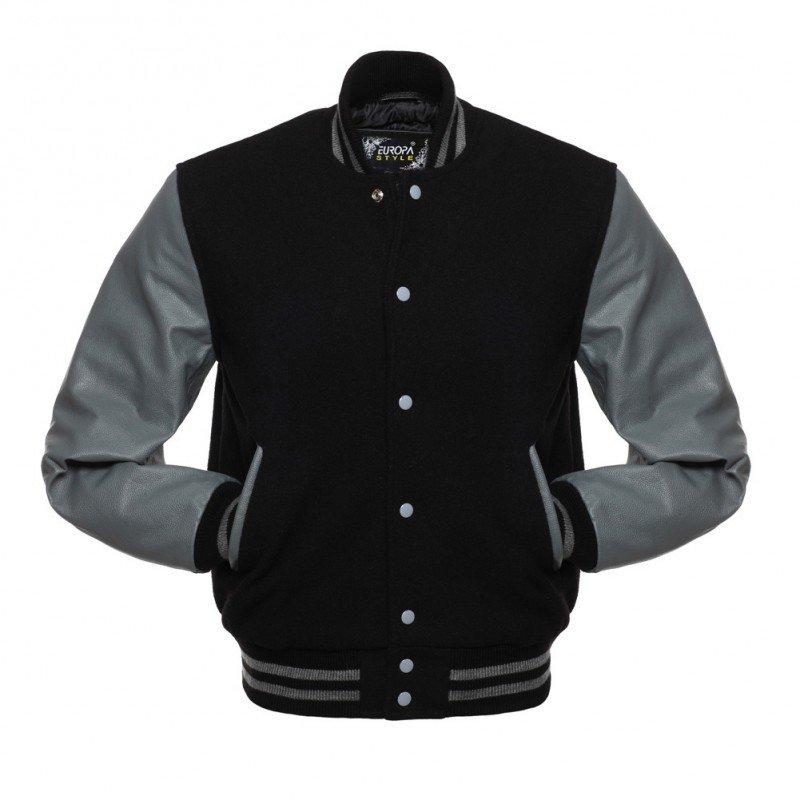 New DC Letterman Black wool Grey leather  sleeves varsity jacket size xs