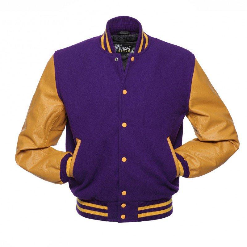 New DC Letterman Purple wool Yellow leather  sleeves varsity jacket size l