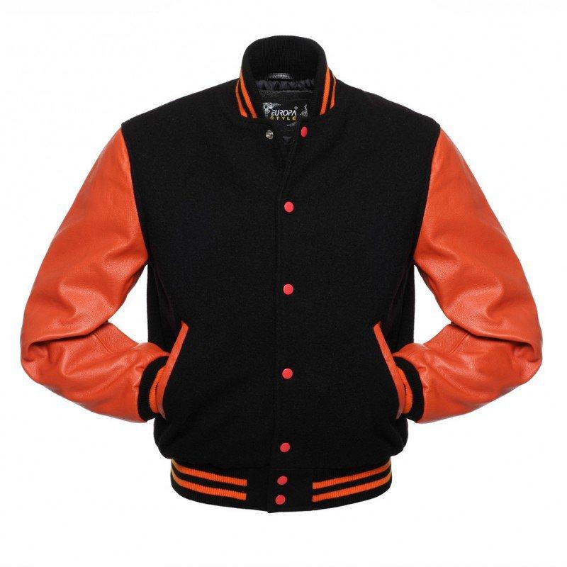 New DC Letterman Black wool Orange leather  sleeves varsity jacket size xs