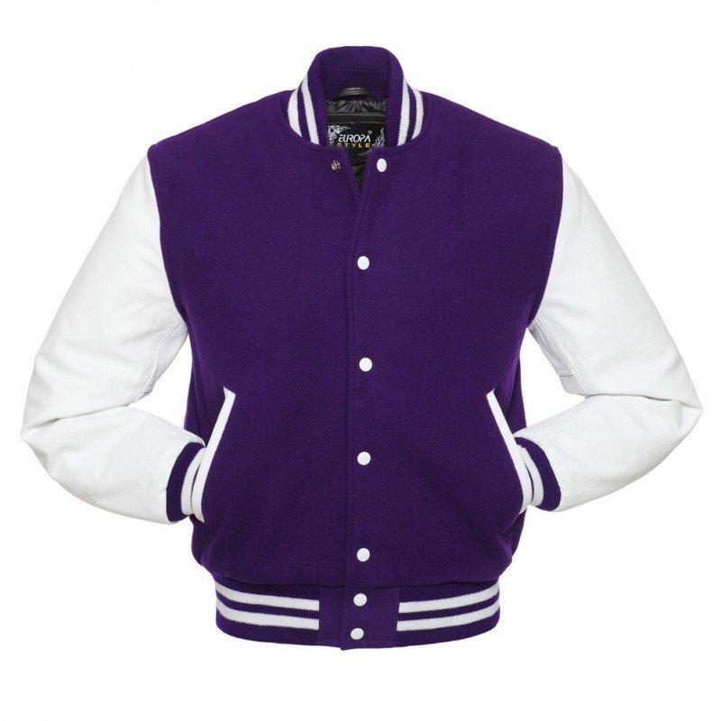 New DC Letterman Purple wool White leather  sleeves varsity jacket size m