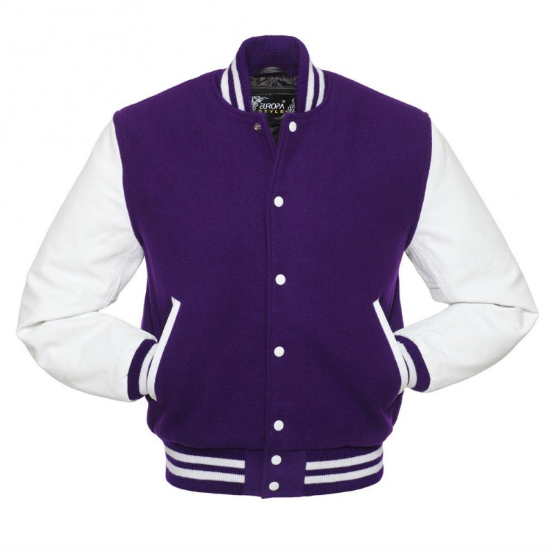 New DC Letterman Purple wool White leather  sleeves varsity jacket size 2xl