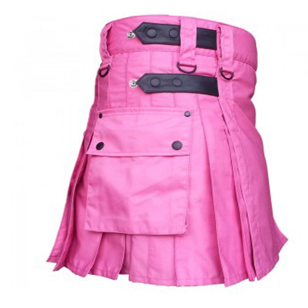 DC highland ladies pink adult handmade cargo utility women cotton kilt size 40