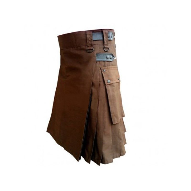 DC Men chocolate brown wedding leather strap cotton utility kilt size 60