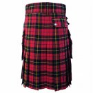DC Scottish Highland Active Men Modern Pocket Wallace Tartan Utility Kilt size 30