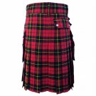 DC Scottish Highland Active Men Modern Pocket Wallace Tartan Utility Kilt size 38