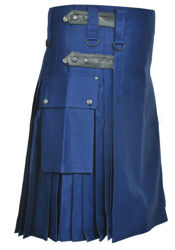DC Scottish handmade Navy blue cotton deluxe utility leather strap sports kilt size 30