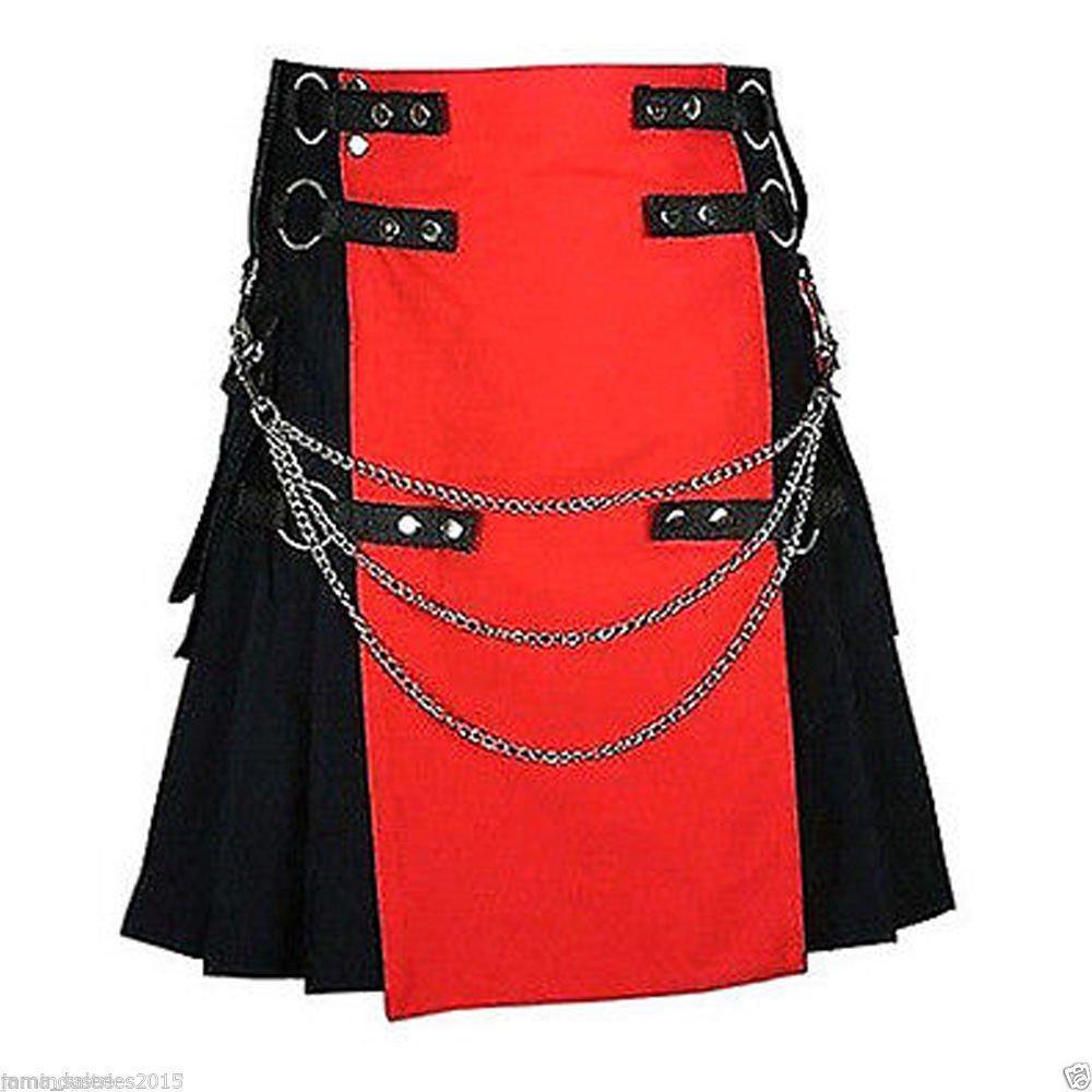 DC Men's handmade Red/Black Deluxe Utility Fashion Kilt 100% Cotton size 38