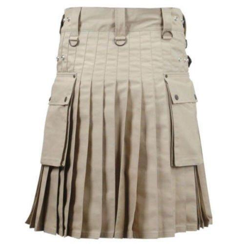 DC  active men highlander  Khaki cotton  utility Wedding kilt size 40