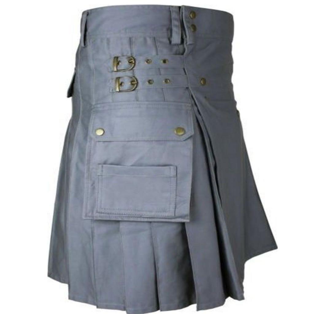 DC Scottish Men Highland Grey Utility Kilt 100 cotton Handmade Size 54