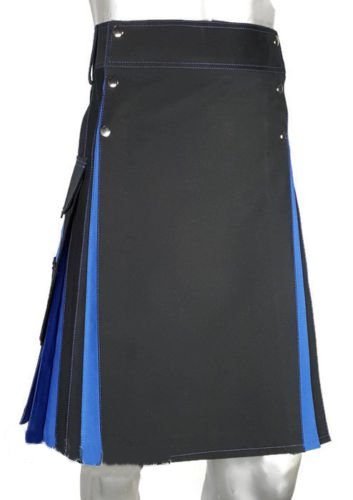 New Active Men Highlander Black/Blue Hybrid Utility Kilt Size 52