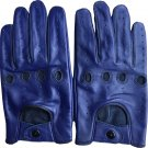 Lambskin Blue Genuine Leather Driving Gloves Men's Classic Top Quality Size L
