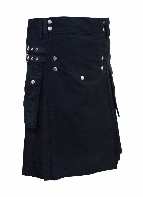 New Scottish highland Black cotton utility Unisex Adult Handmade Cargo Kilt Size 60